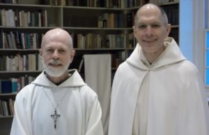 Abbot Joseph and New Novice Br. Elijah side by side smiling