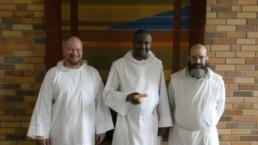 New novice Fr. Raphael with Postulant Jamison and Br. Godric