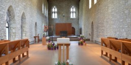 View of New Melleray's Abbey church with ambo, choir stalls, altar
