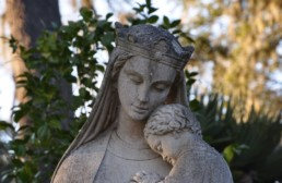 Statue of Mary crowned and holding baby Jesus; Our Lady of Mepkin Abbey