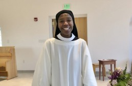 Sr. Myriam professes solemn vows, smiling in new cowl