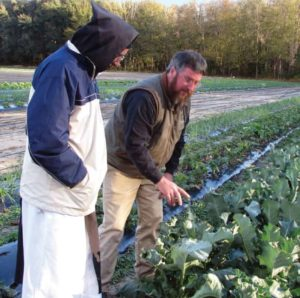 A Monk and farmer examine lettuce crop