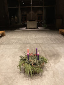 Advent wreath placed before the altar in Redwoods Abbey Church