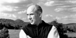 Thomas Merton looking over nature landscape