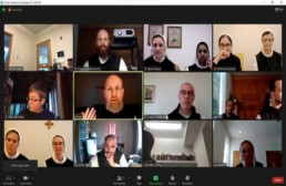 Junior Conference Online: Zoom screenshot of monk and nun participants